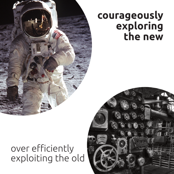 The sixth thesis of the Manifest for Human(e) Leadership: Courageously exploring the new over efficiently exploiting the old.
